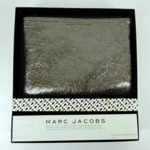 Mark Jacobs Metallic Leather Clutch Bag Pewter New